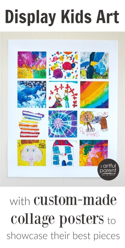 Display Kids Art on a Custom Poster - Displaying kids artwork, Art display kids, Kids art poster, Kids artwork, Art for kids, Printable art activities - Display kids art on a poster with these modern art collages that showcase a selection of your child's artworks in one place