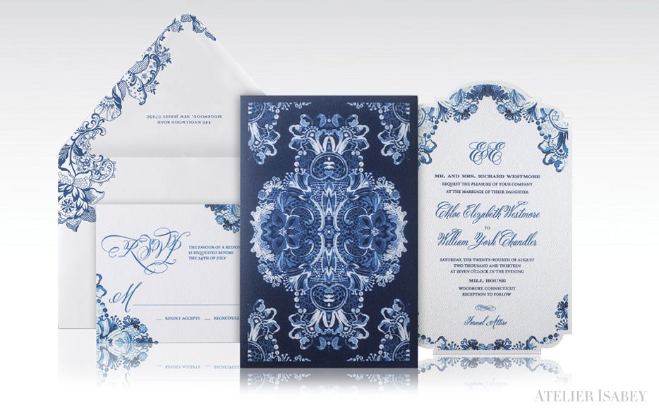 Blue and White China meets Baroque Wedding Invitation with Watercolor Details