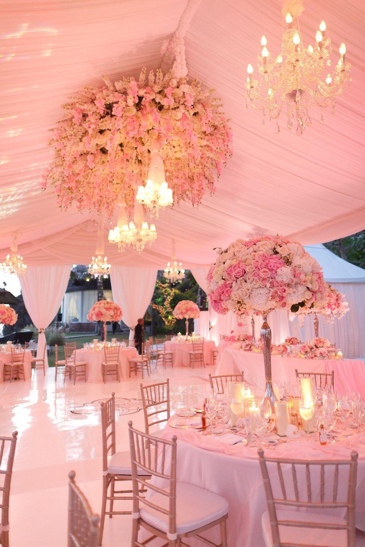 Pink tent wedding with flower chandelier. #PinkWedding Photography ...