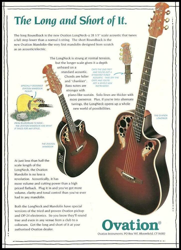 The Ovation Longneck Series Guitar Mandolin Advertisement 8 X 11 Ad Print Ovation In 2020 Ovation Guitar Guitar Books Guitar