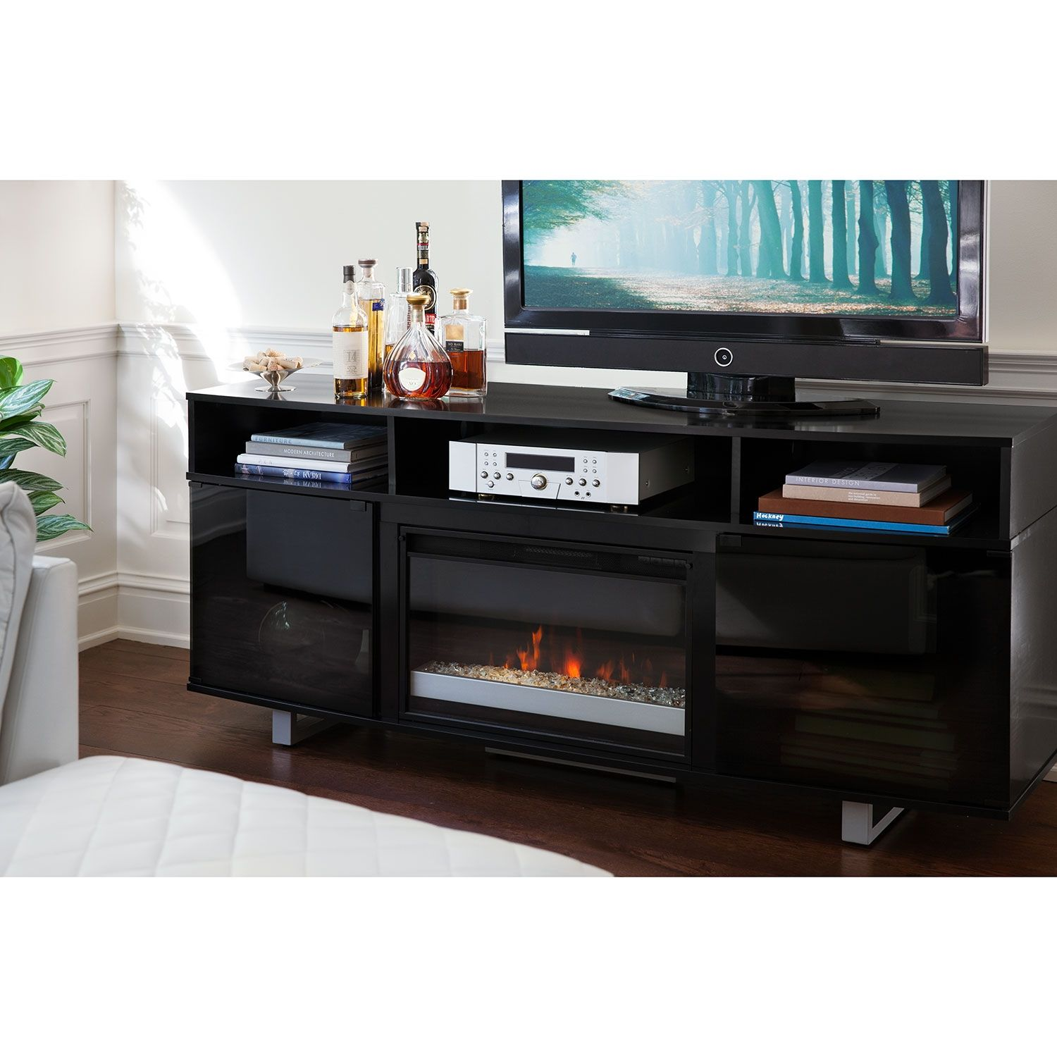 durango tv stand with cabinet rustic fireplace console