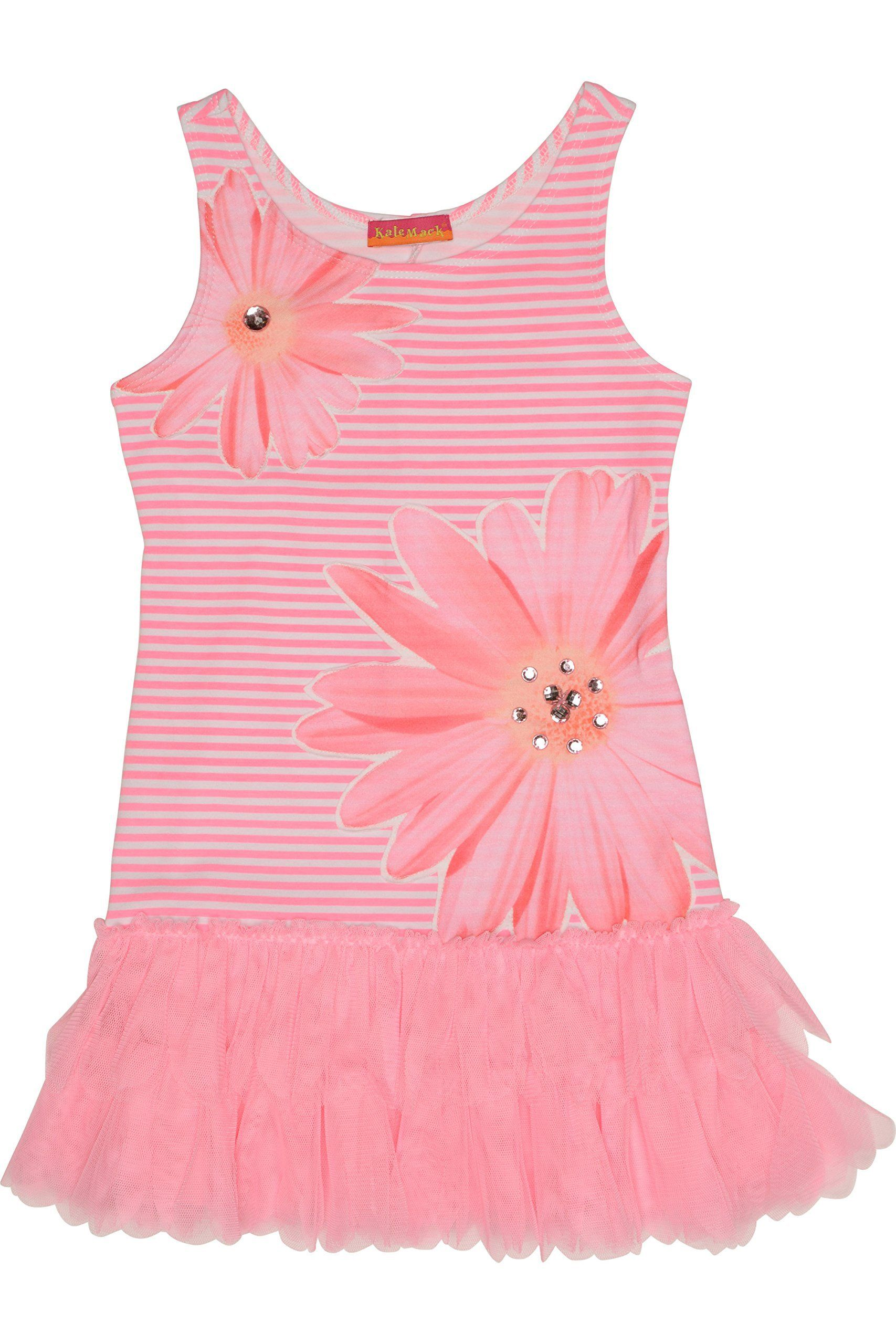 Kate Mack Girl's 2-6X Dottie Daisy Dress. This little dress is full of personality - from the striped bodice with oversized daisies to the ruffly netting skirt. Perfect for those sunny days of summer.
