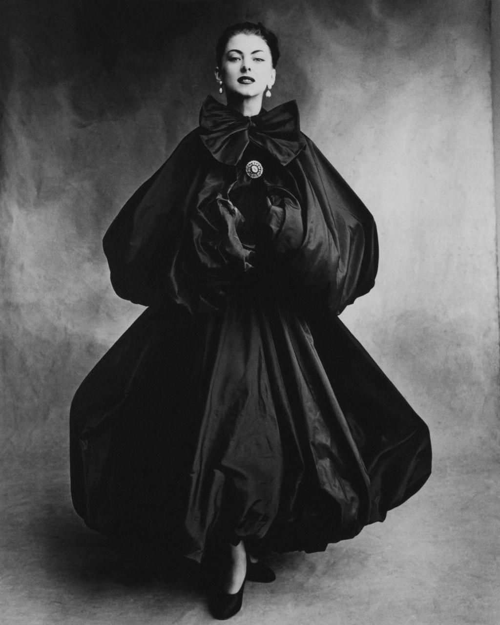 A double-balloon black taffeta evening cape from Balenciaga.   fashionphotographs dcb29642f0