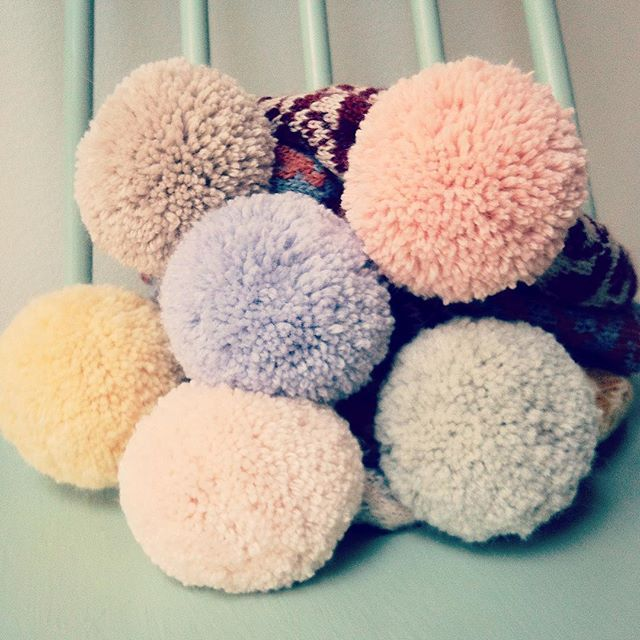 Kutova KiKa knit pompom beanies in ice cream pastel colors, yummy! Kutova Kika knitwear for warm people / www.kutovakika.com