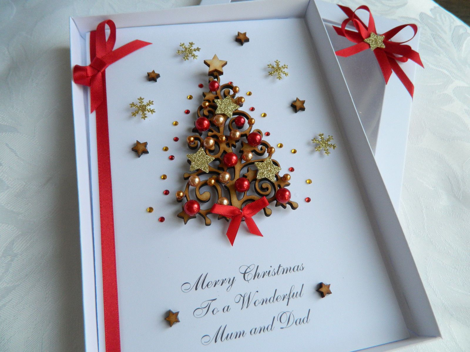 Luxury Personalised Handmade Christmas Card 3d Gift Box Wooden