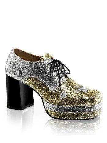 d0dc4920973 Mens 70s Disco Glitter Platform Shoes - L Read all about 70s vintage  fashion.