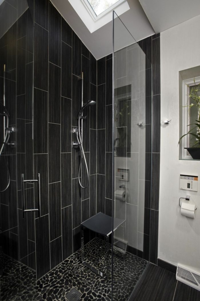 badezimmerfliesen schwarze badfliesen bodenbelag badideen Rund - badideen modern