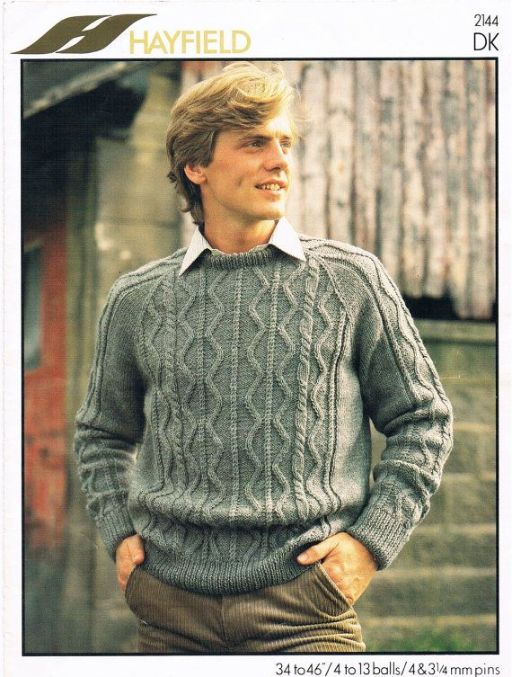 70fc75366 Vintage Knitting Pattern PDF  1980s Cabled Mens Sweater Digital Copy ...