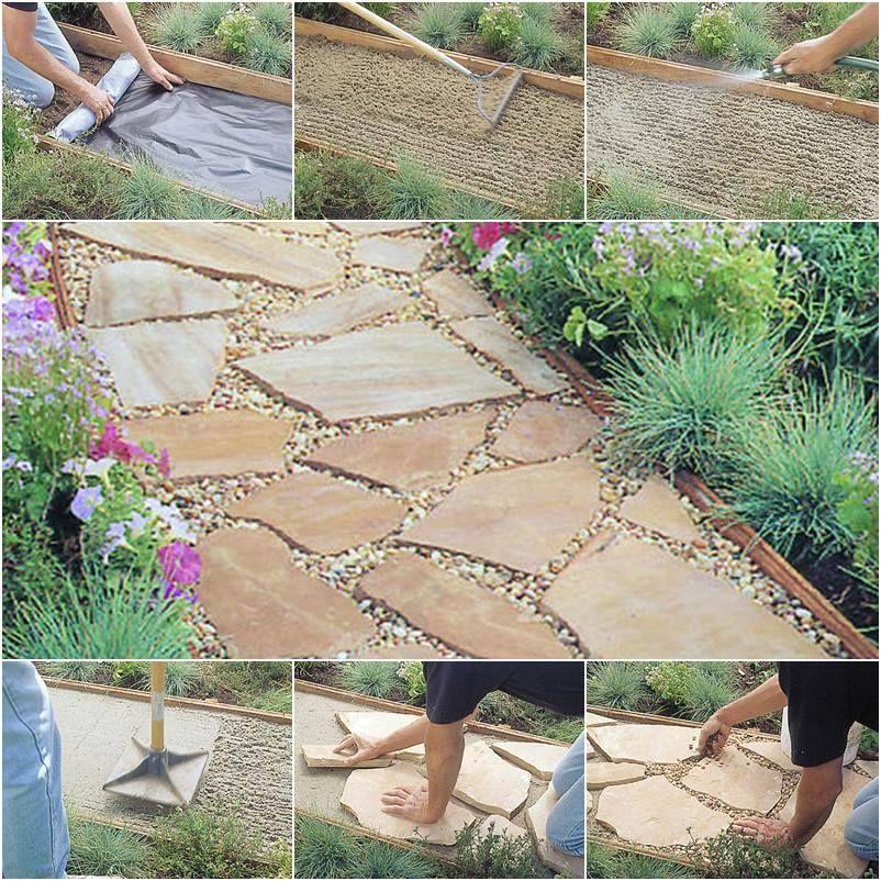 How To Install Diy Flagstone Path Flagstone Path Flagstone Walkway Diy Garden