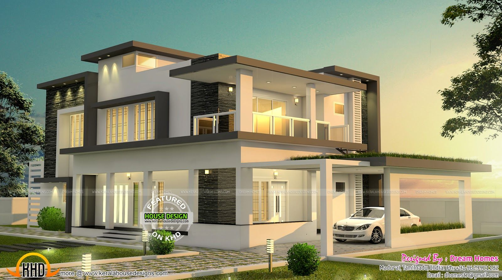 Beautiful Modern House In Tamilnadu Bungalow House
