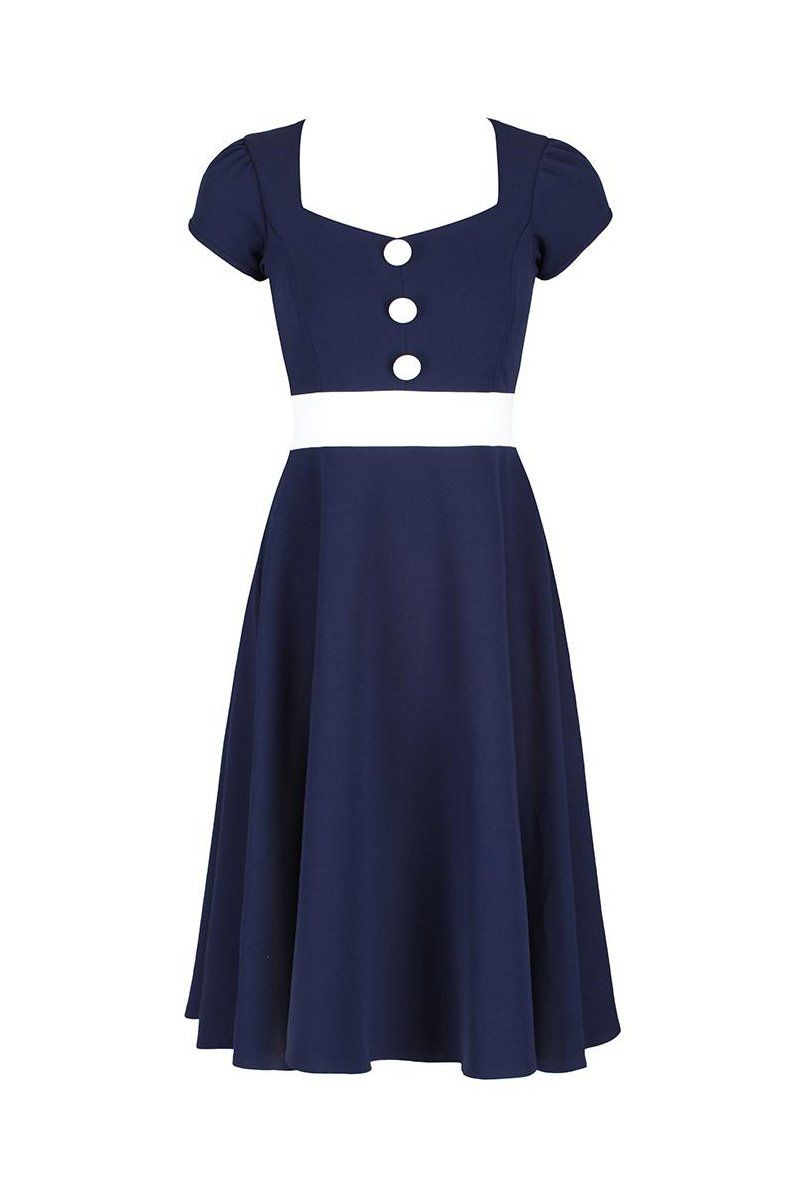 5b23952b3f9d9 Navy Blue and White Nautical Inspired Rockabilly 50s Swing Dress ...