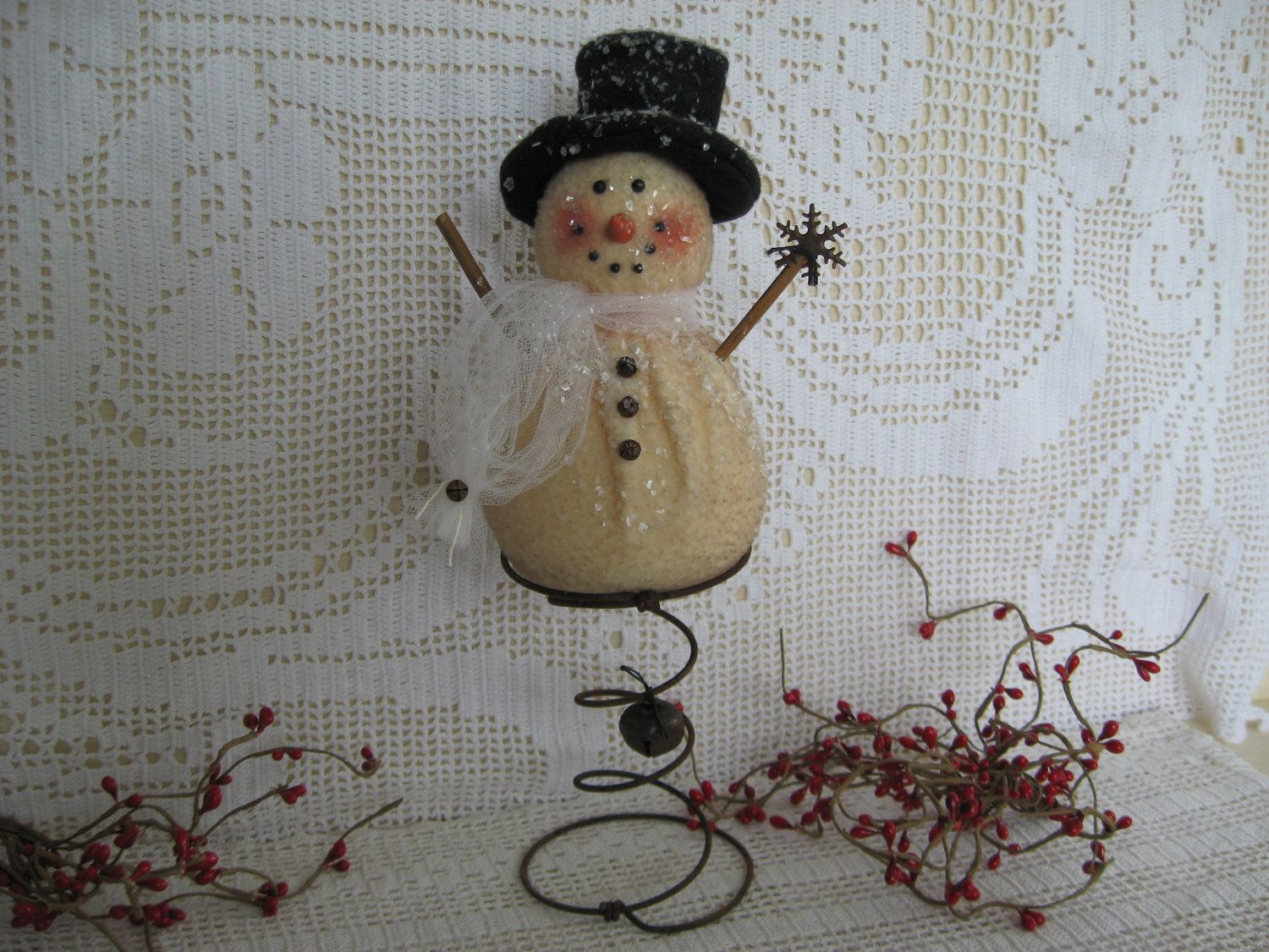 How to make a snowman christmas tree topper - Primitive Snowman Nodder On Rusty Spring Winter Snowman Make Do Snowman Tree Topper