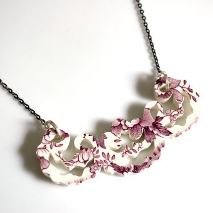 Recycled China Lace Collar by dandelionblu on Etsy $120.00