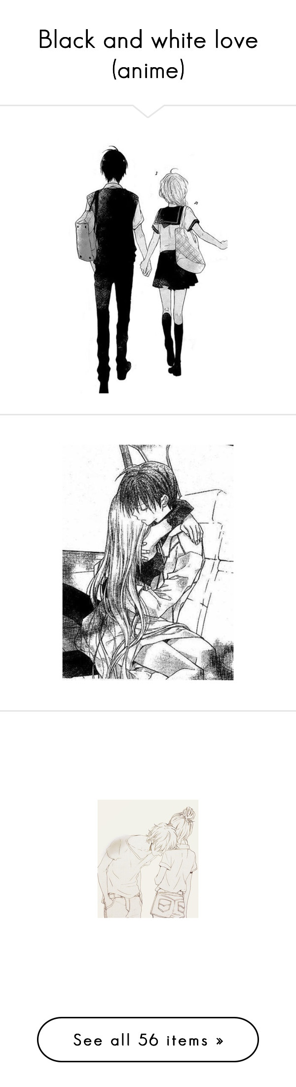 """""""Black and white love (anime)"""" by saoraworld ❤ liked on Polyvore"""