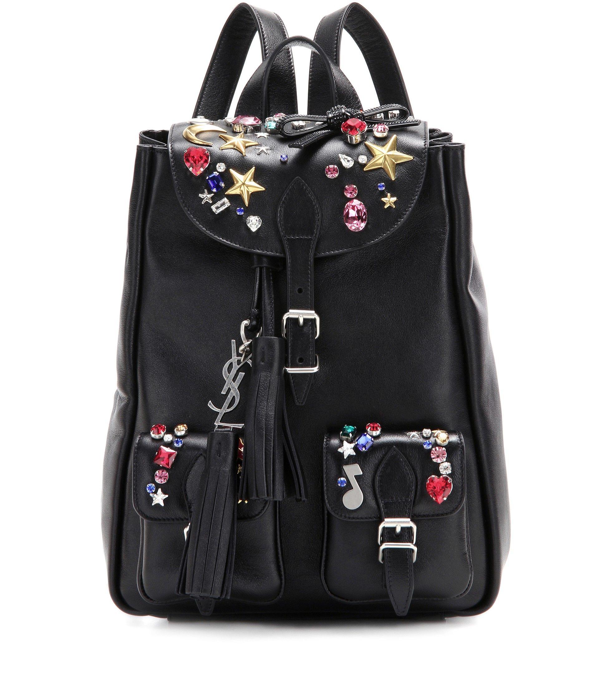 SAINT LAURENT Embellished leather backpack