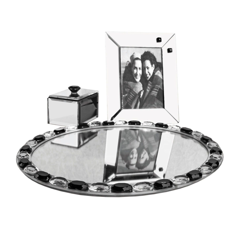 CircleWare Small Black Jewel Accent Mirror Vanity Set