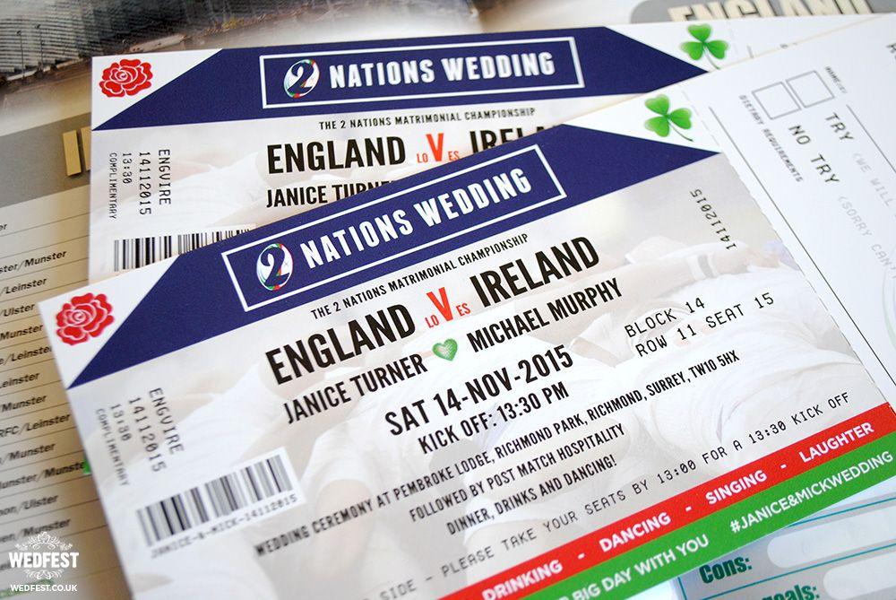 Ireland vs England Rugby Ticket Wedding Invitations   wedding ...