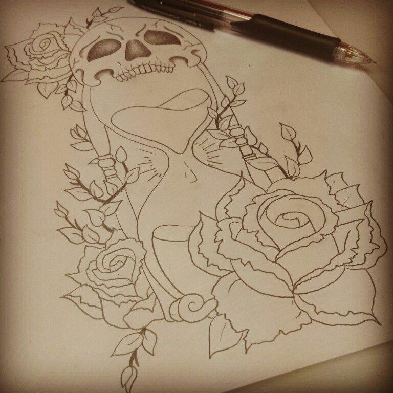 Hourglass tattoo vorlage  Rose, skull & hourglass tattoo I designed | Creations: Art ...