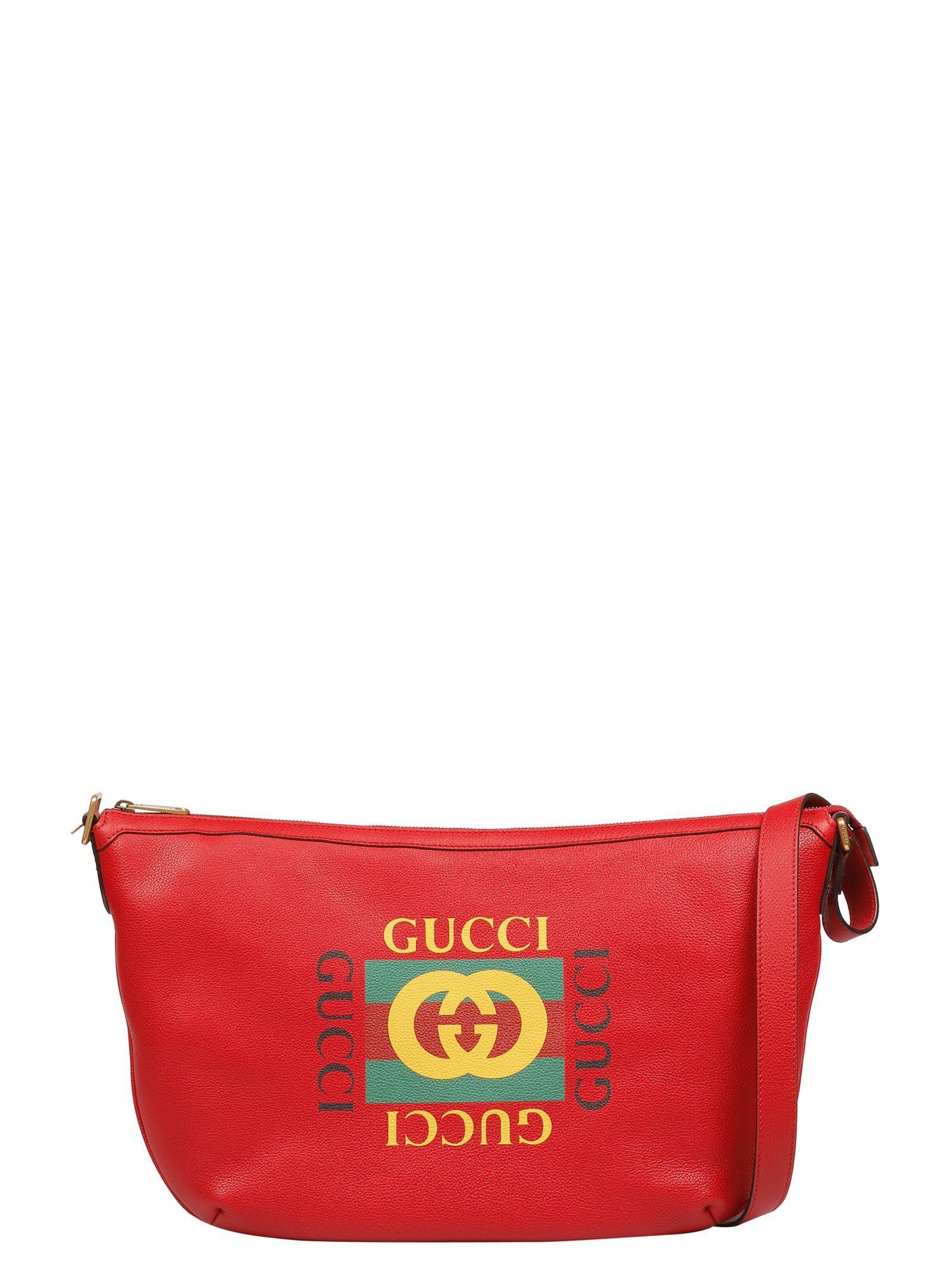 8b636506963247 GUCCI PRINT HALF-MOON HOBO BAG. #gucci #bags #shoulder bags #leather #hobo #