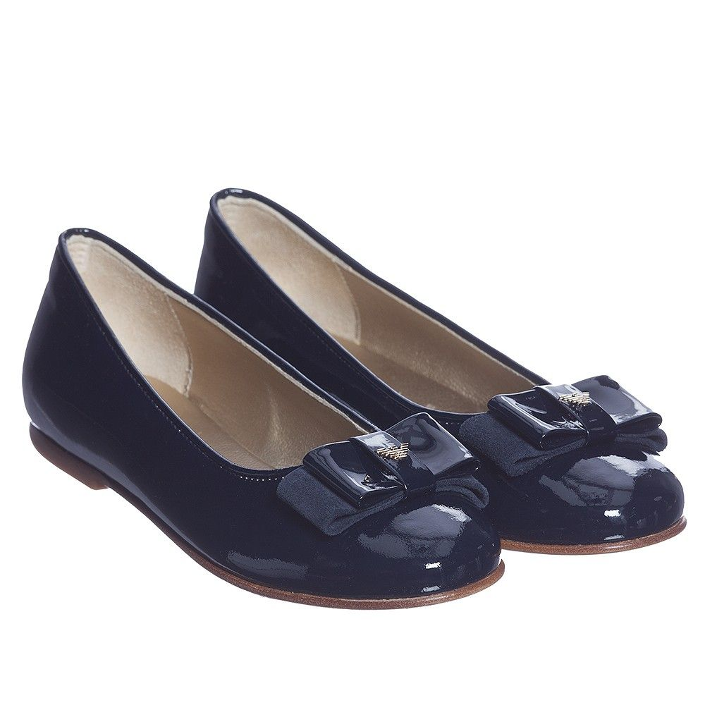 Armani Girls Navy Blue Patent Leather Shoes at