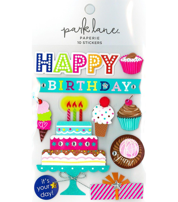 Park Lane Paperie 10 Pk Stickers Happy Birthday Cake Happy