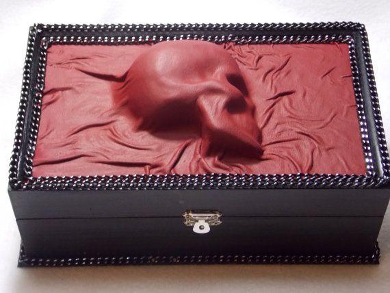 Goth Skull Leather Jewelry Box Storage Organizer One of a Kind