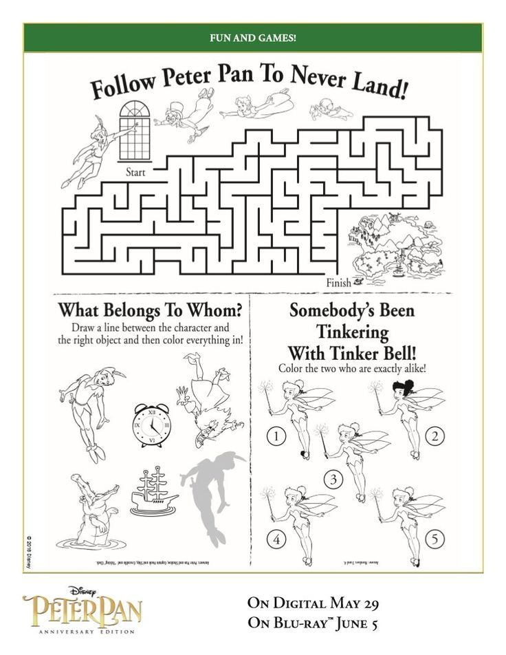 free peter pan activity page printable coloring pages crafts