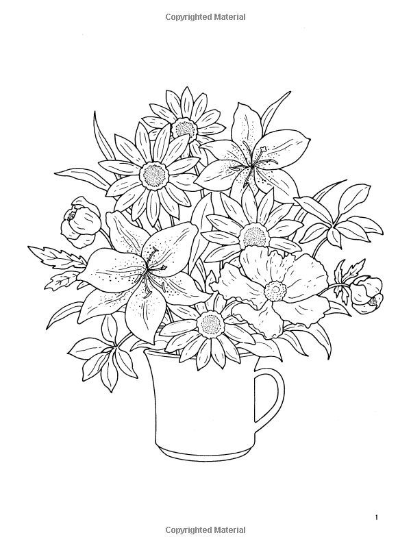 dover coloring book floral bouquets google search - Dover Coloring Books For Adults