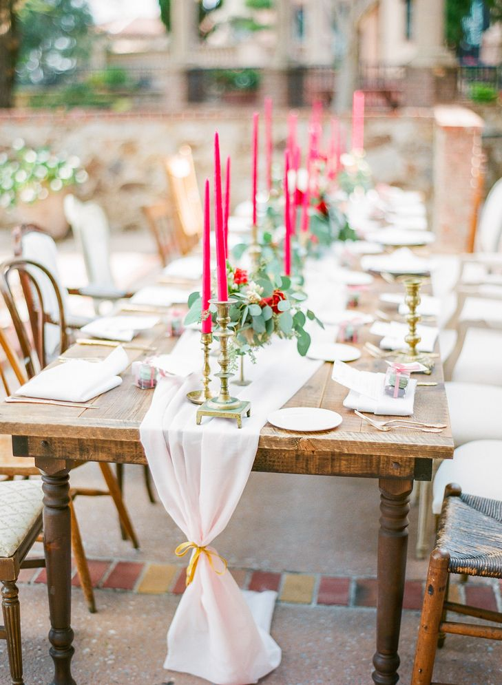 Blush Chiffon Table Runner with Cranberry Candlesticks