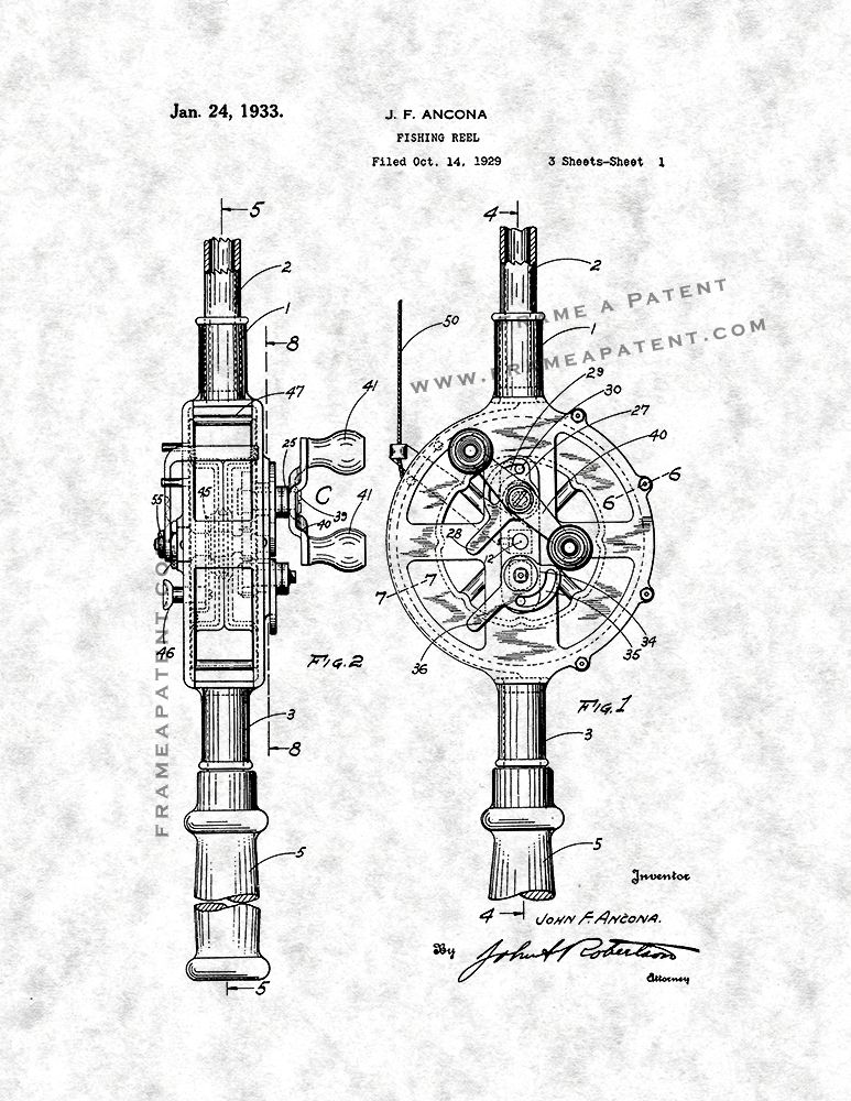 Fishing Reel Patent Print Gunmetal Parchment 5x7 Fishing