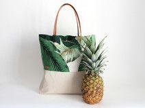 Shopper Tropical Sand/ Leinen Canvas/ Lederträger