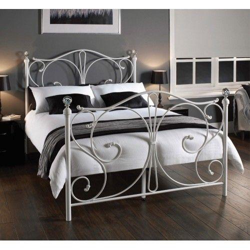 5 0 King Size Florence Crystal White Bed Frame Bedroom Decor