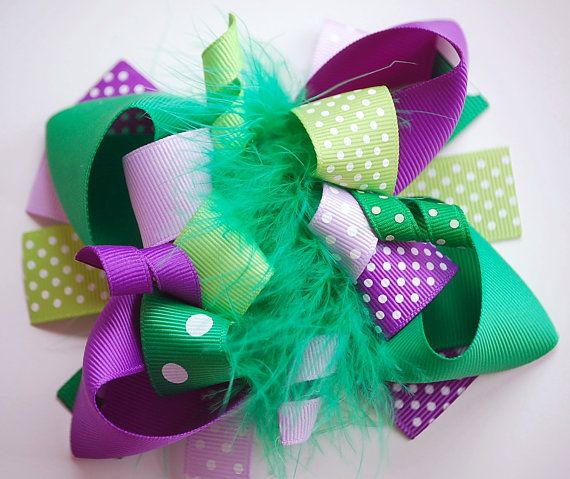 boutique FUNKY fun PURPLE and GREEN hair bow clip by andjane, $12.99