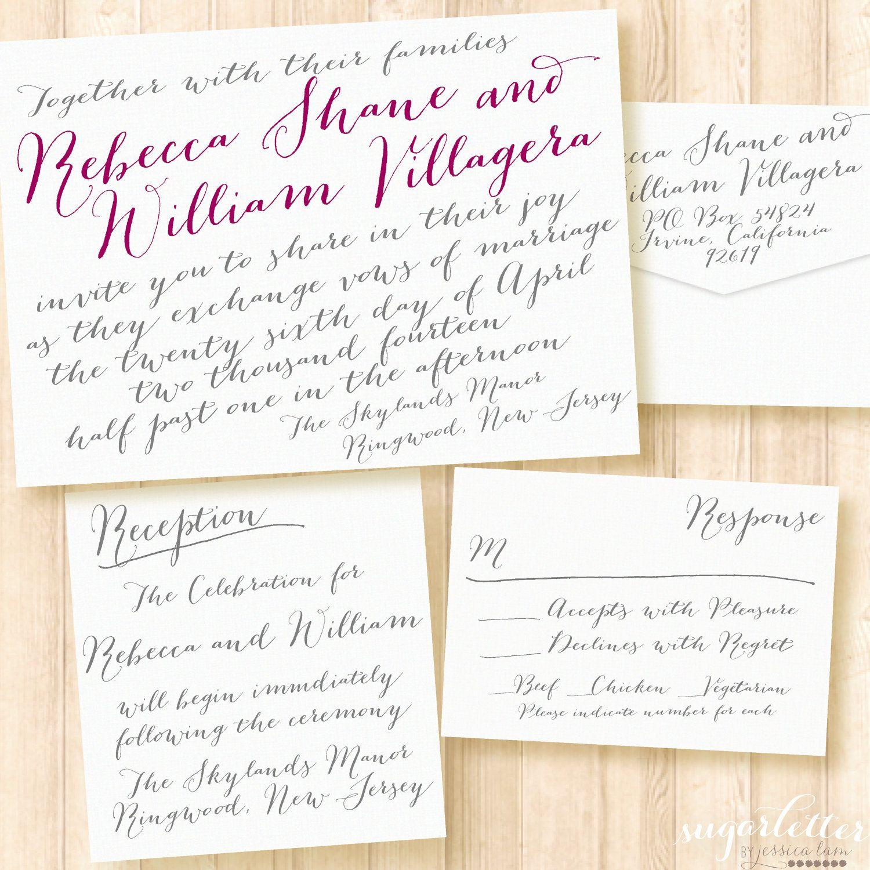Modern Calligraphy Wedding Invitations. $100.00, via Etsy. | Wedding ...