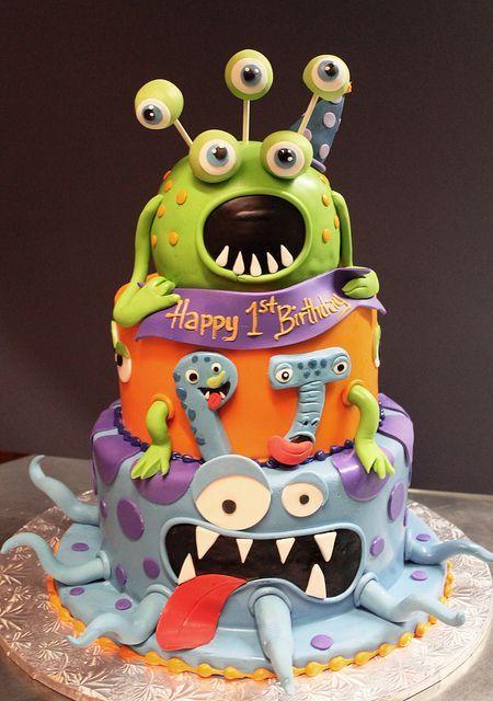 Monster birthday cake  skram  Tarta de Cumpleaos