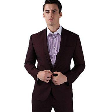 Burgundy Fleece Slim Fit Two-Piece Suit – USD $ 113.99