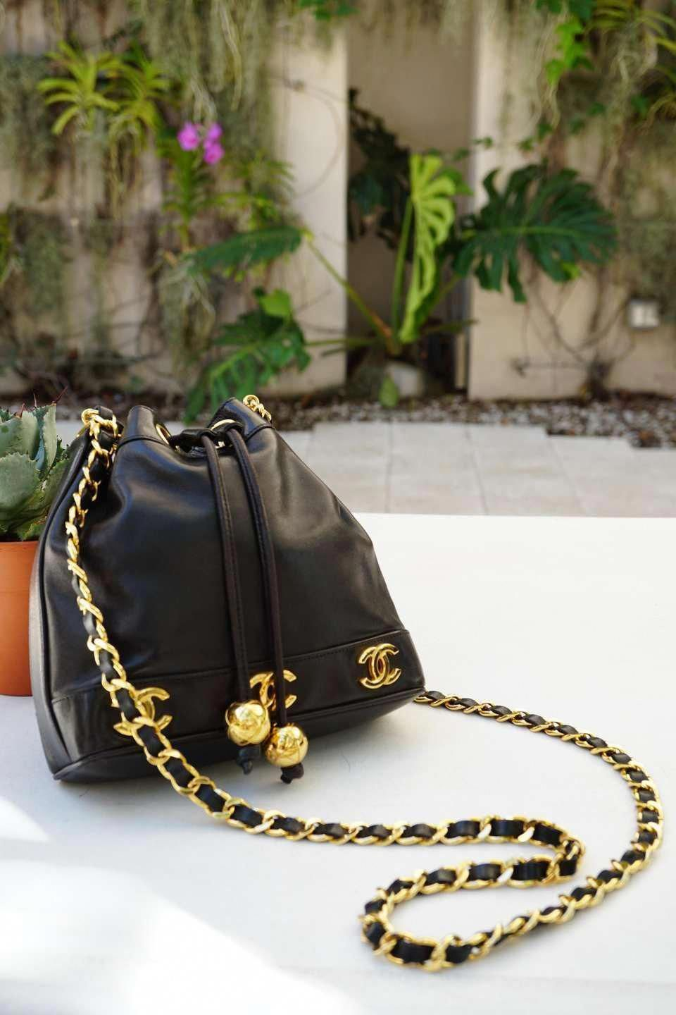 e6b3a293bebab8 For Sale on 1stdibs - Vintage Chanel mini black lambskin vintage 90s CC  crossbody rare tote 1997 VINTAGE 21 Years Gold Hardware Long strap with  classic ...