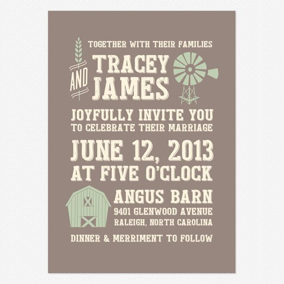 Farm Wedding Invitation With Barn And Windmill Graphic