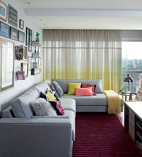 sala de estar com cortina degradee