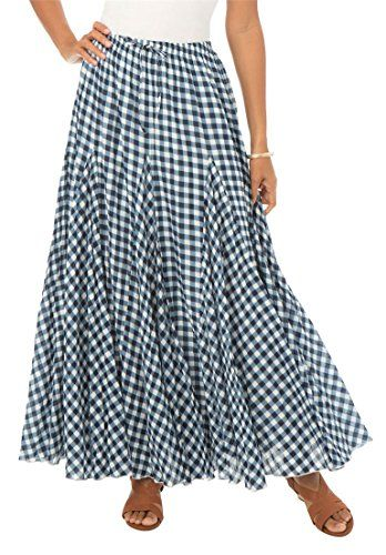 d8e6ae30d28b1 Jessica London Womens Plus Size Cotton Crinkled Maxi Skirt Gingham Print22     Read more reviews