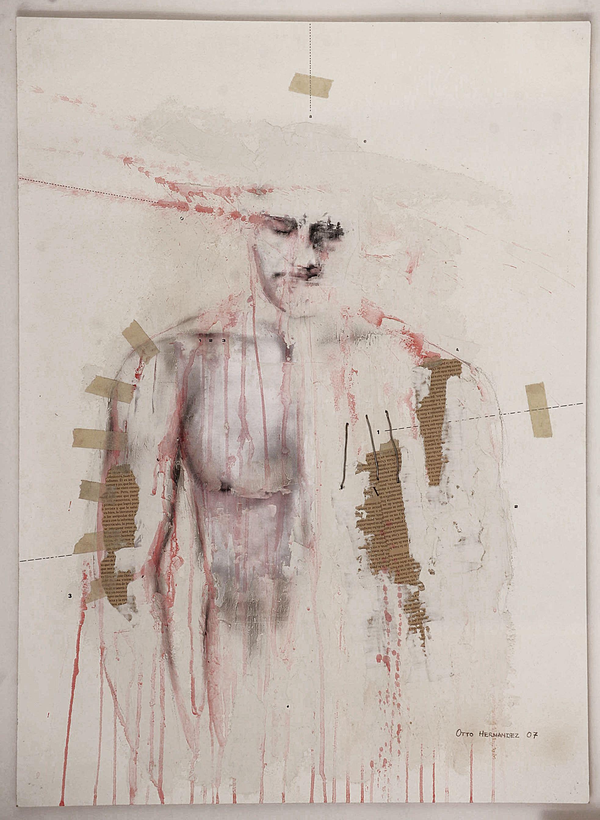 """1er lugar Certámen de Pintura Asamblea Legislativa de El Salvador. Título: """"Ruido Blanco"""", técnica: mixta sobre papel, año: 2007, autor: Otto Hernández"""