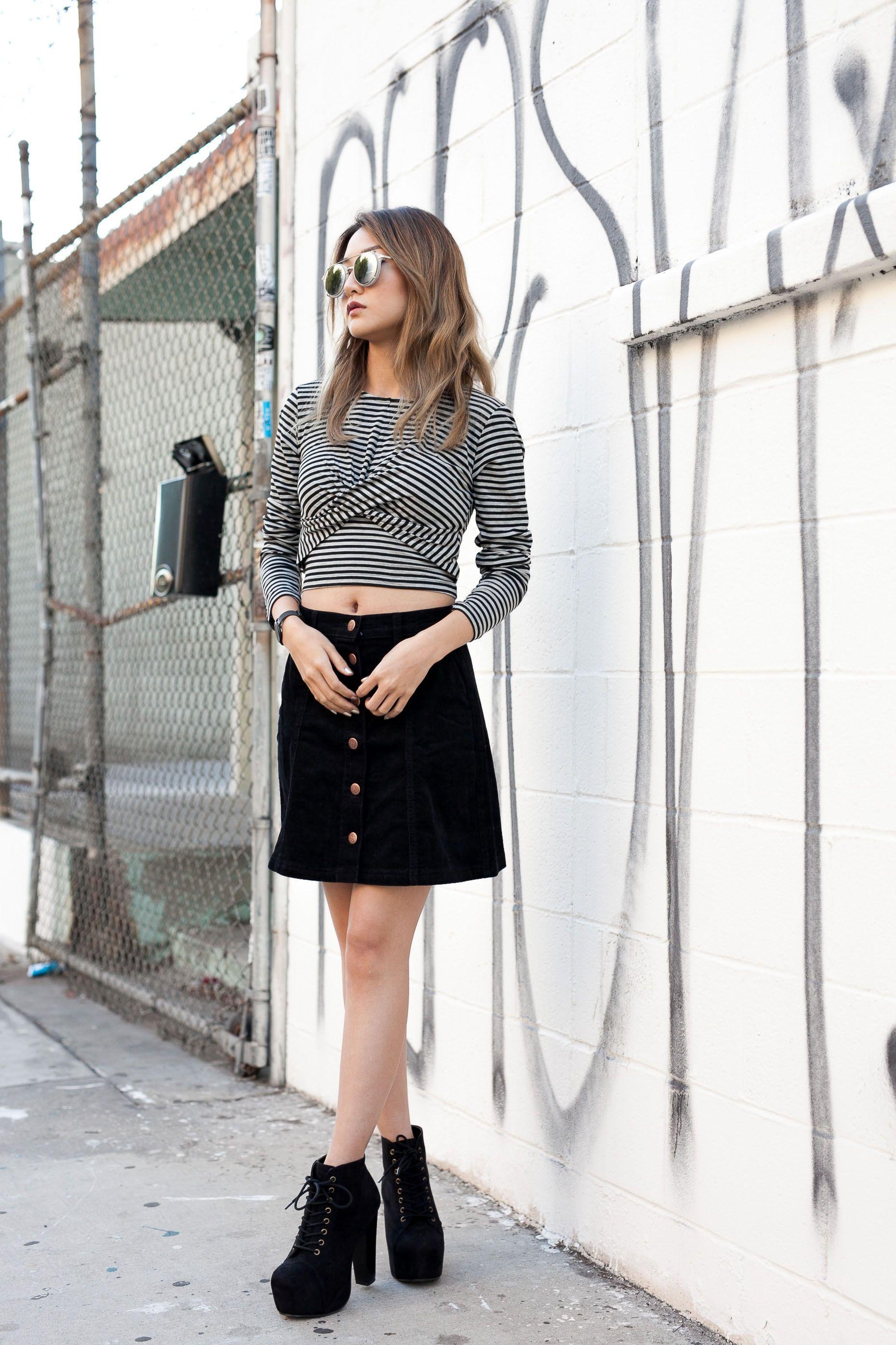 Listras + saia de botões. Mink Pink It || Atsuna Matsui Los Angeles, CA