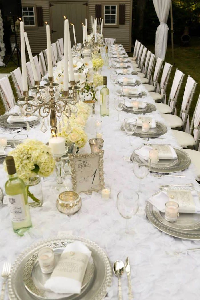 Wedding Dinner Party Ideas Part - 20: Dining Tablescape From An Elegant White Outdoor Dinner Party Via Karau0027s Party  Ideas | KarasPartyIdeas.