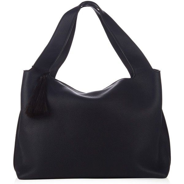 The Row Duplex leather shoulder bag featuring polyvore, women's fashion, bags, handbags, shoulder bags, navy, navy blue leather handbags, leather shoulder handbags, navy leather shoulder bag, blue purse and leather purses