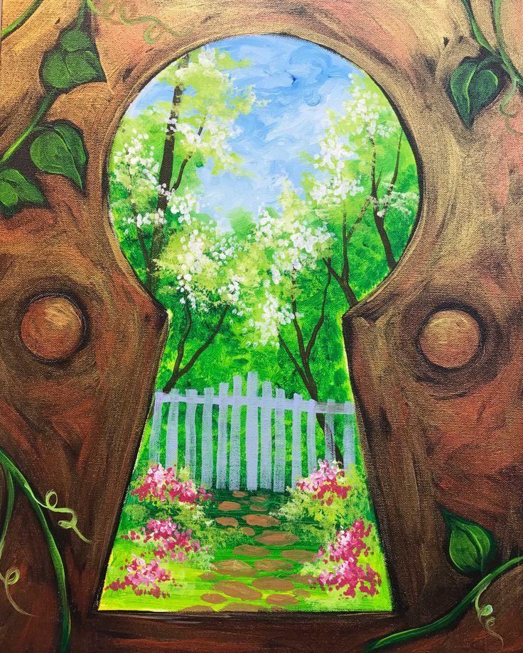Secret Garden View Through A Keyhole Unique Beginner Painting Idea Art Projects