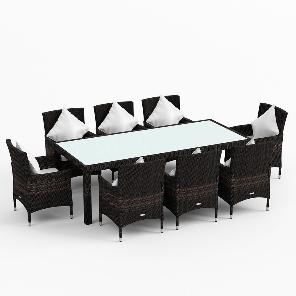 Luxo Morocco 9pc Pe Wicker Outdoor Dining Setting Coffee Bean Brown Online Australia