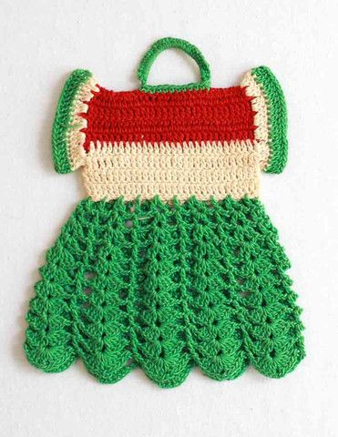 Vintage Summer Watermelon Dress Potholder Crochet Pattern | Dresses ...