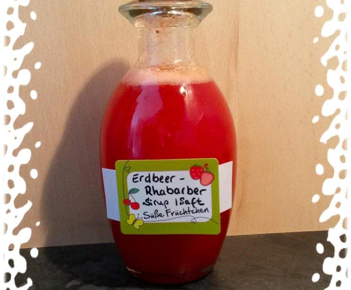 Rezept Erdbeer - Rhabarber - Sirup...    300 g Rhabarber     500 g Erdbeeren     100 g Wasser     200 g Zucker, oder     100 g Zucker mit, 100g selbstgemachten Vanillezucker