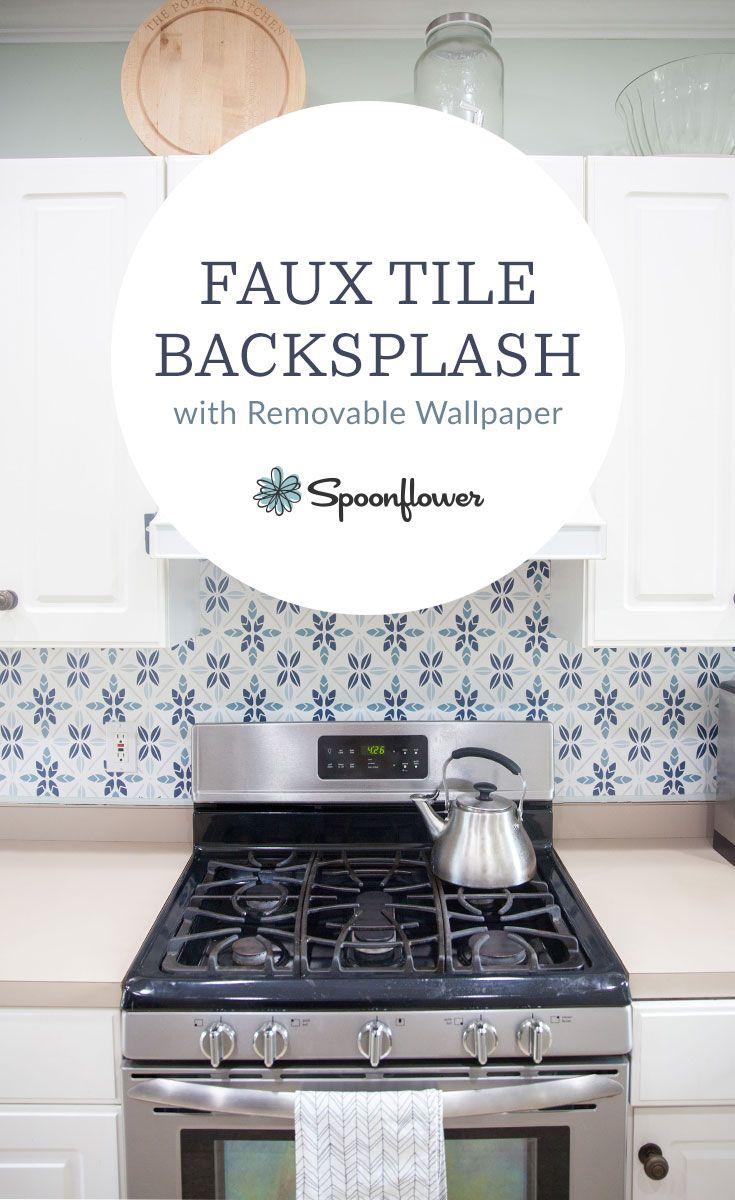 Easy Faux Tile Backsplash with Eco Friendly Wallpaper