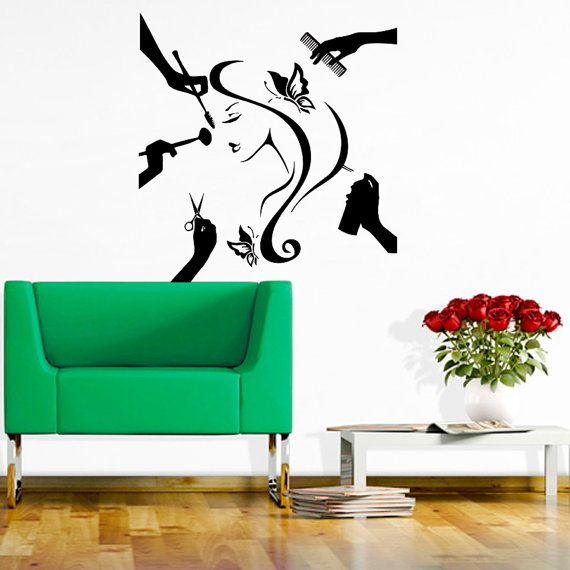 Salon Wall Decor beauty salon wall decor hair fashion girl womancozydecal